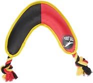 Belgisch voetbal boomerang voor je hond zwart geel rood 24 cm