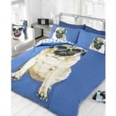 Mopshond 2 persoons dekbedovertrek, mopshondjes dekbed 200 x 200 centimeter