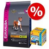Probeerpakket: Grote zak Eukanuba + Pedigree Dentastix Multipack (56 stuks) - Daily Care Senior Plus (12 kg)