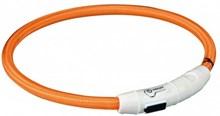 Trixie halsband voor hond flash light lichtgevend usb oplaadbaar oranje 7 mmx65 cm