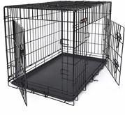 Songmics | Heavy Duty Grote Opvouwbare Hondenbench | Opvouwbaar Bench voor Hond | 2 Deurs Kennel met uitschuifbare Bodem | Voor Thuis of in de Auto | Autobench | Maat: L | Afm. 91 x 58 x 64 cm. Kleur: Zwart