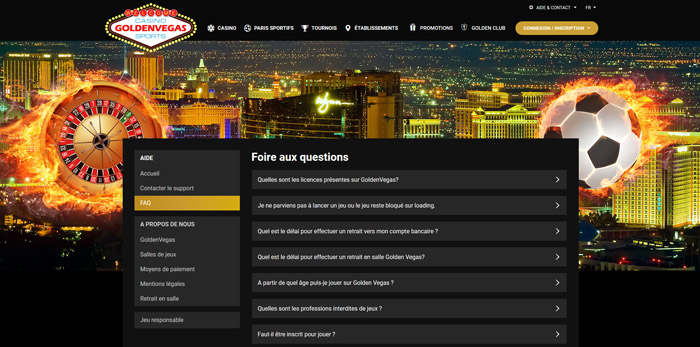 Golden Vegas support